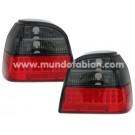 Pilotos cristal leds negro/rojo